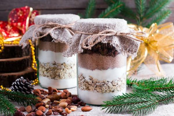 Decorative cookie mix in a jar