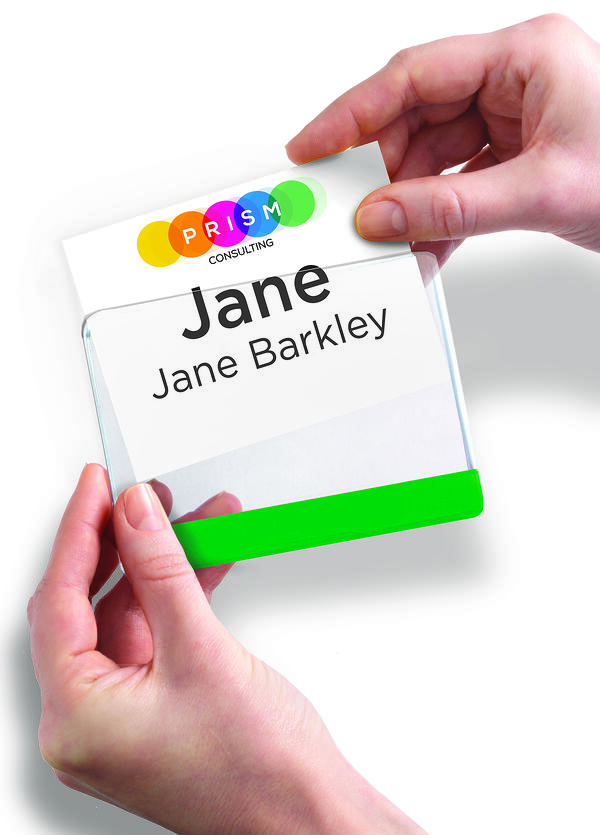 Color bar name badge holder