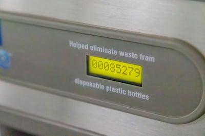 pc/nametag water bottle refill station has saved 85,000 plastic bottles