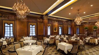 Dining room at the Omni Parker House Hotel