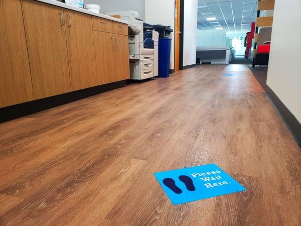 """""""Please Wait Here"""" Floor Sign"""