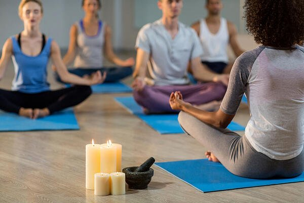 Business-hosted yoga session