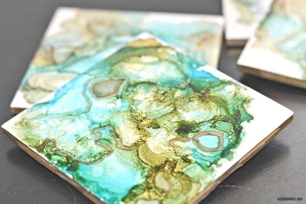 DIY ceramic coaster - green agate