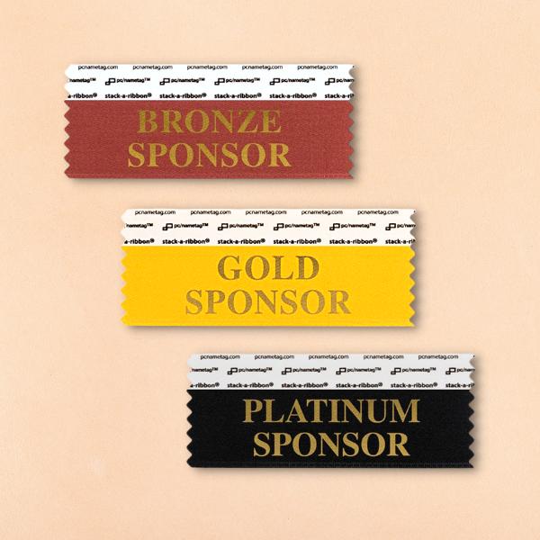 bronze gold and platinum sponsor badge ribbons by pcnametag