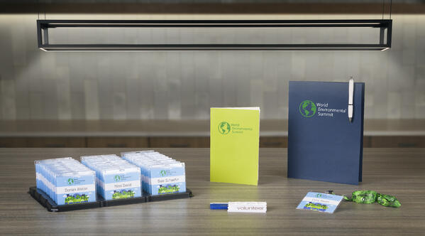 pc/nametag eco-friendly event supplies including recyclable lanyards, badge inserts and badge holders