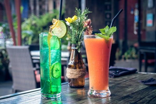 Reclaimed fruit juice bar drinks