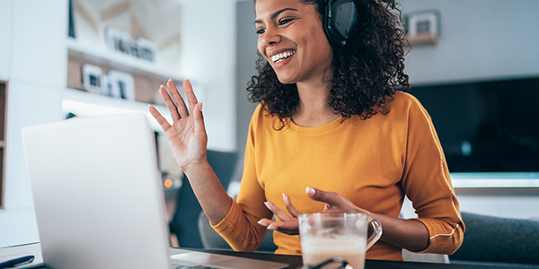 Woman attends online learning class for professional development